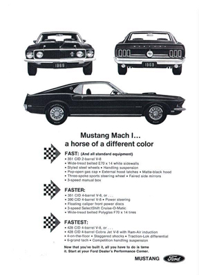 Advertisement for 1969 Ford Mustang Mach 1