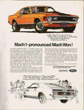 Advertisement for 1970 Ford Mustang Mach 1