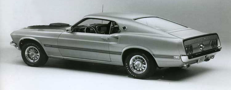 Silver 1969 Ford Mustang Mach 1 with shaker scoop